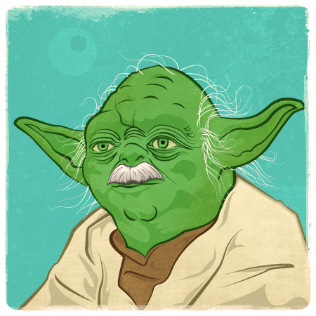 Yoda. With a mustache!